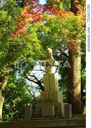 秋天的落葉和紀念塔 72063286