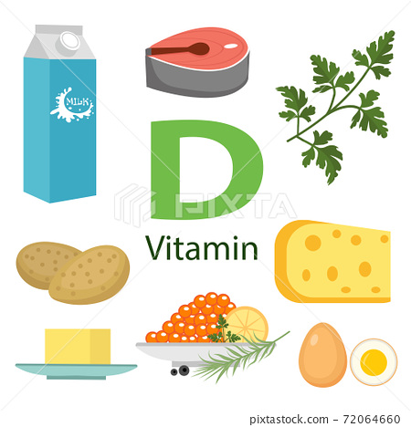 Vitamin D vector flat illustrations. Foods containing vitamin D on the table. Source of vitamin D: beans, eggs, milk, fish, cheese, parsley isolated on white background 72064660