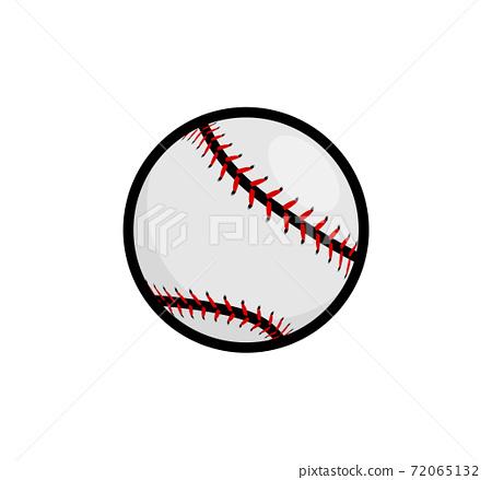 Baseball stitches softball vector icon. Baseball ball icon simple flat sign 72065132