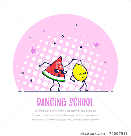 Dancing Funny Fruits Couple, Watermelon and Lemon 72067911