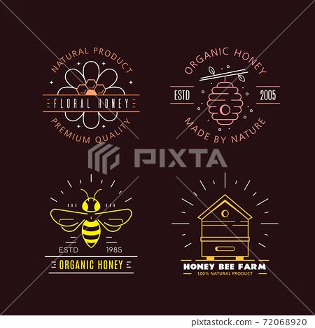 Honey production company outline badge or logo design 72068920