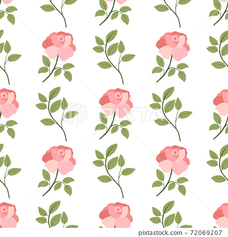 Floral seamless pattern with green leaves branch and rose peony flower. 72069207