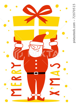 Santa Claus holding a presents on white background. Merry Christmas and Holiday greeting card. 72070515