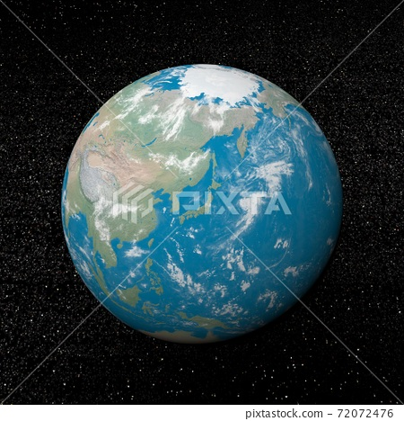 Japan on earth - 3D render 72072476
