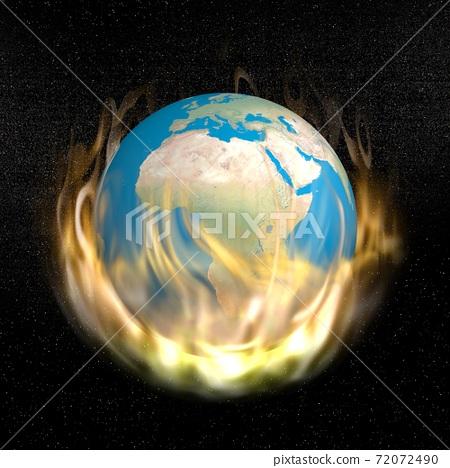 Burning earth - 3D render 72072490