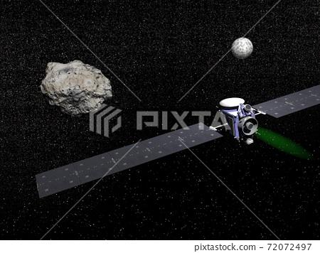 Dawn spacecraft, Vesta and Ceres - 3D render 72072497