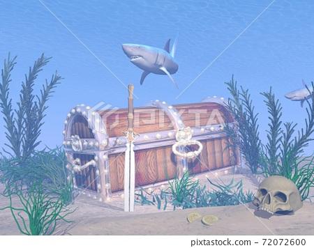 Lost treasure chest - 3D render 72072600