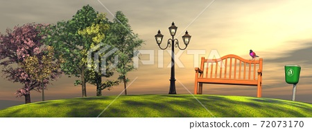 Sunset in a park 72073170
