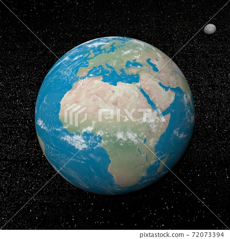 Earth and moon planets and stars - 3D render 72073394
