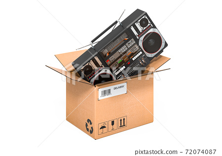 Boombox inside cardboard box, delivery concept. 3D rendering 72074087