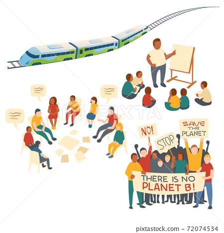 Clip art of eco transport and protest action 72074534