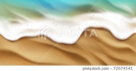 Top view of sea wave with foam splashing on beach 72074543