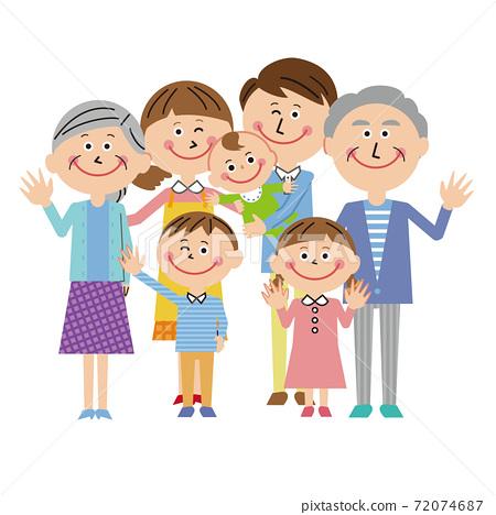 一個流行的第三代家庭,與一個嬰兒喜 72074687