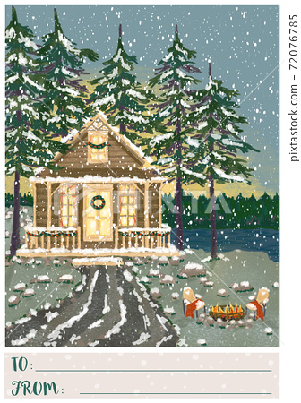 Christmas greeting postcard with cozy cabin in winter forest 72076785