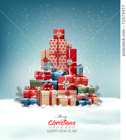 Retro holiday christmas background with christmas tree made out of colorful gift boxes and presents. Vector illustration 72078457