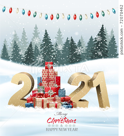 Holiday background with christmas tree made out of colorful gift boxes and presents and winter landscape. Vector illustration 72078462