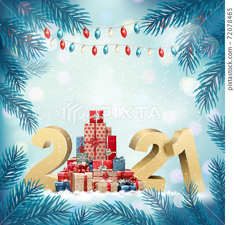 Holiday Christmas background abstract tree made out of gift boxes and gold 2020. Vector 72078465