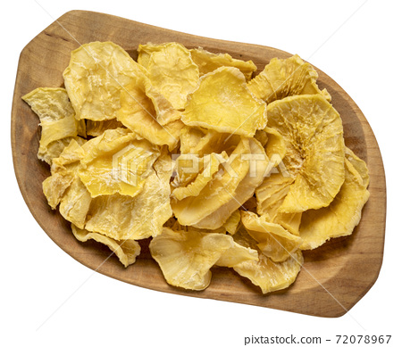 yacon tuber slices on wooden bowl 72078967