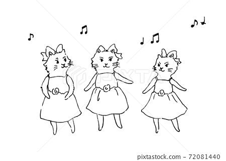 芭蕾舞獨奏小貓舞手繪 72081440