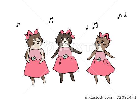 芭蕾舞獨奏小貓舞手繪 72081441
