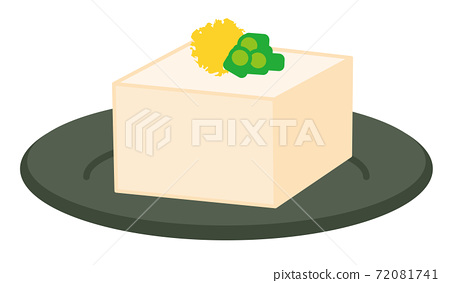 Illustration of a cold tofu with green onions and ginger / white background 72081741