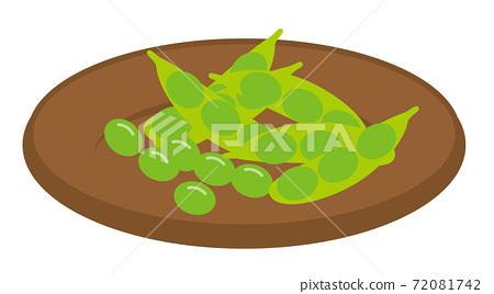 食用豆在盤子上的插圖/白色背景 72081742