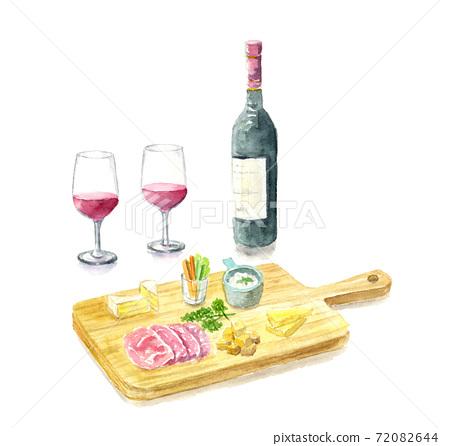 葡萄酒和奶酪板有陰影,水彩插圖 72082644