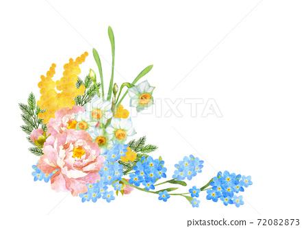 Watercolor spring flower bouquet 72082873