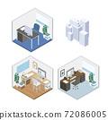办公室室内设计等距图 72086005