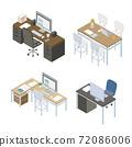 办公桌设计等距图 72086006