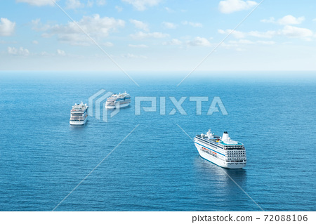 Many cruise ships on ocean, aerial 72088106