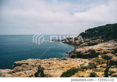 Landscape of the Costa Brava in Catalonia, Spain. With a blue sea 72092110