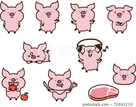 돼지 캐릭터 일러스트 세트 72093210