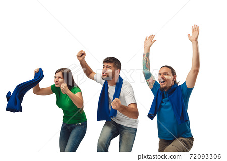 Female and male soccer fans cheering for favourite sport team with bright emotions isolated on white studio background 72093306