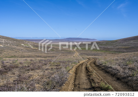 Fields and hills in the Opuksky nature reserve in the Republic of Crimea, Russia. Clear Sunny day October 7, 2020 72093812