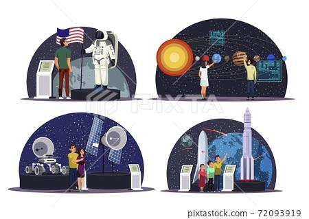 Science exhibition in astronomy museum scenes set 72093919