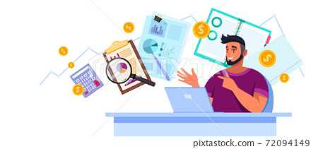 Financial audit analysis vector illustration with young man consultant, laptop, charts, magnifier 72094149