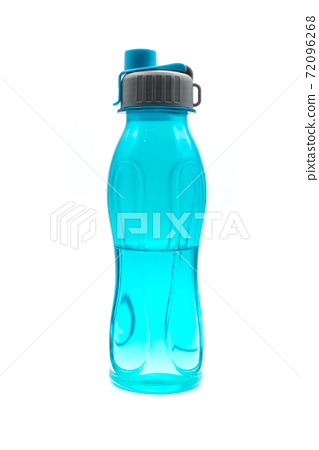Closeup of plastic bottle of water on white background 72096268