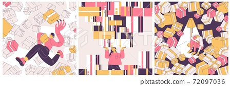OCD vector concept illustration about people collecting and buying things. Scenes with various characters and boxes in pink and yellow 72097036