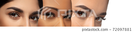 Close up of faces of young women, focus on eyes. Horizontal collage 72097881