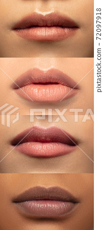 Close up female lips. Vertical collage. Nude makeup. Cosmetology, skin care concept. Flyer for ad. 72097918