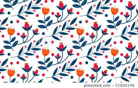 Christmas plants seamless pattern. Merry christmas repeating texture winter flowers.Tileable Holiday background. Vecto illustration 72099146
