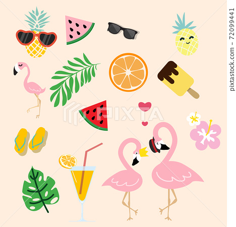 cute pink flamingo with  tropical summer 72099441