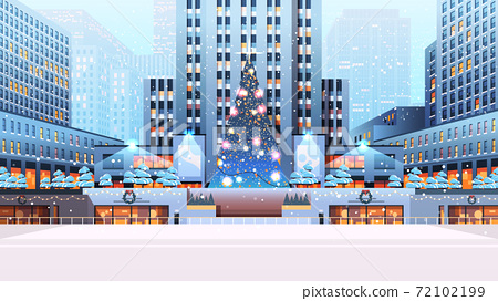 central city square with decorated christmas tree happy new year winter holidays celebration concept 72102199