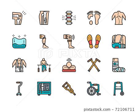 Set of Medical Rehabilitation Flat Color Icons. Prosthesis, Bandage and more. 72106711