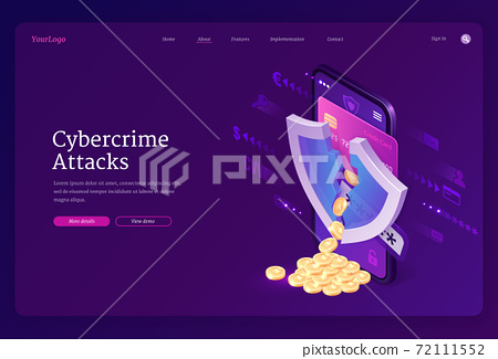 Cybercrime attack isometric landing page, banner 72111552