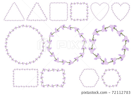 Lilac iris flower wreath for packaging design, wedding invitation, greeting card. 72112783