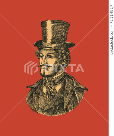Victorian gentleman with hat and mustache. Man in vintage retro style. Vector illustration. Antique 72114917