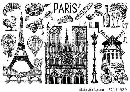 Paris set in vintage retro style. France, eiffel tower and buildings. Retro doodle elements. Vector 72114920