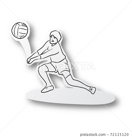 Vector illustration black line hand drawn of volleyball player on cut paper with shadow isolated on white background. Paper art. 72115120